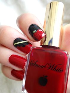 """Snow White Nail Art. Used the """"Snow White"""" polish from the Disney Fairytale Nail Polish set.  Added shading and glitter to the apple. #nailart"""
