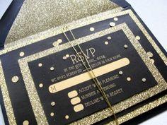 Glitter Wedding Invitations Set / Reception RSVP by punchpaper