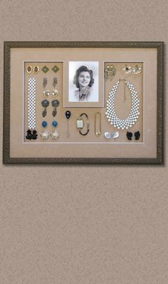 Framing your mother's jewelry is a great way to preserve and display your treasured family memories. Picture Frame Store, Picture Frames, Wendy Davis, Mother Jewelry, Gallery Walls, Small Art, Family Memories, Jewellery Display, Preserve