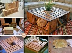 Wine Crate Coffee Table DIY Projects with Instructions. A wood coffee table is quite expensive, today we will share with you a creative recycling project to make wine crate coffee table, a perfect solution with l Wine Crate Coffee Table, Crate Table, Coffee Table Furniture, Wine Table, Coffee Tables, Wood Crates, Wooden Boxes, Wooden Pallets, Furniture Projects