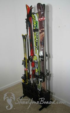 upright #ski storage rack for 5 pairs of skis