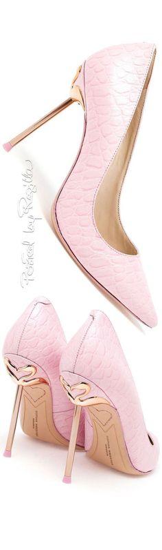 Sophia Webster ~ Pink Leather Pumps w Slim Metal Gold-tone Heels
