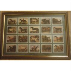 Framed set showing 20 trading cards showing types of Horses from Early prints £19.95 special offer