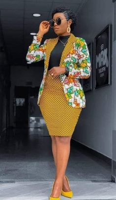 African Print Blazer Jacket with Mini Skirt - Ankara Print - African Dress - Two Piece Outfit - Hand African Print Dress Designs, African Print Clothing, African Print Fashion, Africa Fashion, African Prints, Modern African Fashion, African Wear Designs, Ghana Fashion, Best African Dresses