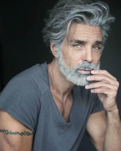 Impressive Long Hair And Beard Ideas For Handsome Older Mens Hairstyles, Haircuts For Men, 1940s Hairstyles, Modern Haircuts, Prom Hairstyles, Hair And Beard Styles, Long Hair Styles, Grey Hair Men, Gray Hair