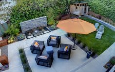 Del Mar – Modern Landscape, love the framework of the seating area with the grasses. Also love the patio, concrete area