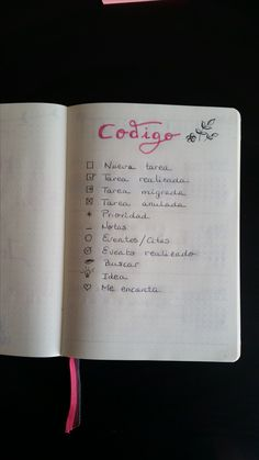 Código de mi Bullet Journal. #bulletjournal