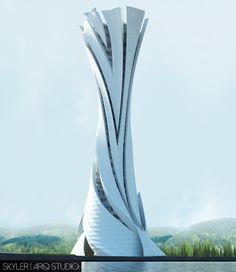Ming-Yue Tower on Behance Organic Architecture, Beautiful Architecture, Architecture Design, Futuristic Design, Futuristic Architecture, Future Buildings, Architecture Concept Drawings, Tower Design, Amazing Buildings