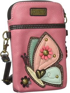 Chala Crossbody Cell Phone Purse - Women PU Leather Multicolor Handbag with Adjustable Strap - Butterfly - Guava Pink - Parent Crossbody Phone Purse, Cell Phone Purse, Leather Store, Pu Leather, Handmade Purses, Cute Purses, Quilted Bag, Womens Purses, Cute Bags