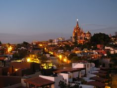 The lights come on at night in San Miguel de Allende Mexico