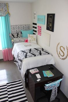 Dorm Room Inspiration  colllege teen girl room decoratioin preppy southern turquoise pink white gold navy cute                                                                                                                                                                                 More