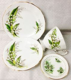 ADDERLEY & ROYAL ALBERT LILY OF VALLEY 4PC TRIO SAUCER COASTER TEACUP SIDE PLATE