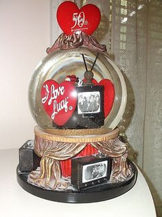"It plays ""Oh Christmas Tree"". I Love Lucy, My Love, Collage Drawing, Lucille Ball, 50th Anniversary, Snow Globes, Growing Up, Musicals, Cartoons"