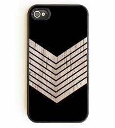 Faux Wood Chevron & Black iPhone Case   $16
