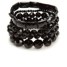 Kim Rogers Black 5-Piece Black Glass Bead Bracelet Set ($15) ❤ liked on Polyvore featuring jewelry, bracelets, black, stackers jewelry, stacking bracelet sets, kim rogers, kim rogers jewelry and glass bead jewelry
