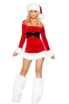 768cca80c018f5 2PC Mrs Santa Claus Dress Costume Christmas Dress Women