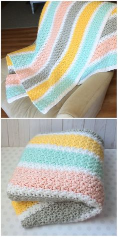 Crochet For Beginners Thick Stripes Blanket crochet Striped Crochet Blanket, Crochet Baby Blanket Beginner, Baby Knitting, Crochet Blankets, Baby Blankets, Manta Crochet, Diy Crochet, Crochet Crafts, Crochet Projects