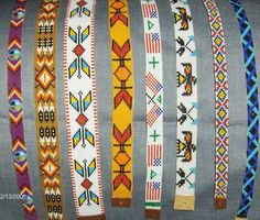 Beaded hat band patterns beaded hat band these are for show to show you some of the patterns i Native Beading Patterns, Seed Bead Patterns, Beaded Bracelet Patterns, Peyote Patterns, Indian Beadwork, Native Beadwork, Native American Beadwork, Beaded Hat Bands, Motifs Perler