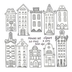 , Set of hand-drawn PNG Houses clipart. , Set of hand-drawn PNG Houses clipart. House Doodle, House Clipart, Rome Antique, Amsterdam Houses, Clip Art, Frame Clipart, Baby Shower Cards, Surface Pattern Design, Doodle Art