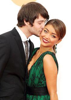 Sarah Hyland got a smooch from boyfriend Matt Prokop arriving at L.A.'s Nokia Theatre for the 65th Annual Primetime Emmy Awards.