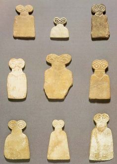 """Eye Goddesses, #Goddess Ishtar Many hundreds of small figures like these were found at the Syrian """"Eye Temple"""" of Tell Brak, which date from about 3650-3550 BC. This temple was dedicated to the worship of the Goddess Ishtar (Inanna). They are all unique and yet the same."""