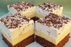 Znáte tento dezert? U nás doma ho miluje každý a pokud se zeptáte na oblíbený zákusek manžela nebo dětí, všichni odpoví shodně:) Jelikož je víkend udělám ho raději na dva plechy, aby si chvíle volna celá rodina užila co nejvíce. Co budeme potřebovat: Na těsto: 5 vajec 50 g moučkového cukru 5 lžic studené vody … Köstliche Desserts, Sweets Recipes, My Recipes, Gourmet Recipes, Delicious Desserts, Cakes To Make, How To Make Cake, Sweet Cookies, Yummy Cookies