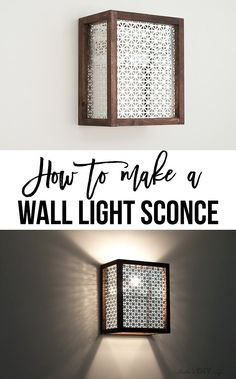 How to make a wall sconce using a simple wood dowel and decorative metallic sheet. This step by step tutorial with video shows you how to add an easy DIY wall sconce to your room. It can be used as an industrial wall sconce shade or a plugin wall sconce. Industrial Light Fixtures, Outdoor Light Fixtures, Industrial Chic, Industrial Lighting, Outdoor Lighting, Wall Light Fixtures, Plug In Outdoor Light, Rustic Lighting, Diy Wand