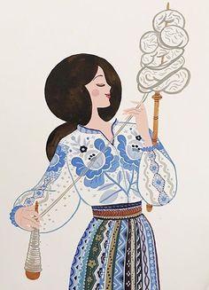 Folk Art Flowers, Flower Art, Foto Transfer, Scandinavian Folk Art, Ukrainian Art, Children's Book Illustration, Islamic Art, Traditional Art, Lana