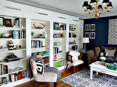 IKEA BILLY Library Wall >>> THE REVEAL >>> I love this Room!  @Kristin Cadwallader [BLISS AT HOME]