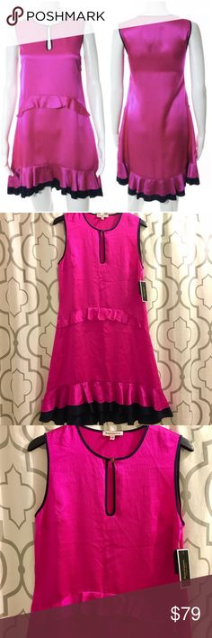 "Juicy Couture Pink Silk Ruffle Dress Juicy Couture hammered silk dress. Hot pink with navy accents. Tiered ruffles. Sleeveless. Keyhole button front. Hidden side zip closure. Approx 16.5"" across bust, 16.5"" across waist, 36"" long. NWT.  On here to declutter, 🚫 trades. If I want something in your closet, I'll buy it 😍 Reasonable offers always welcome! Juicy Couture Dresses"