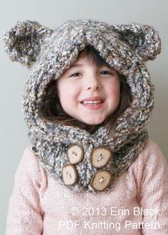 DIY tejer patrón  grueso oso capucha en niño por ErinBlacksDesigns, $6.00