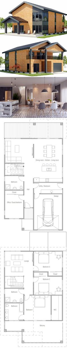 I kind of like this floor plan. Shop House Plans, Modern House Plans, Small House Plans, House Floor Plans, House Blueprints, New Home Designs, Farmhouse Plans, House Layouts, Future House