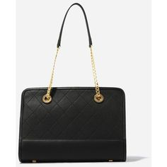 CHARLES & KEITH Chain Strap Shoulder Bag (110 CAD) ❤ liked on Polyvore featuring bags, handbags, shoulder bags, black, black purse, chain handle handbags, black shoulder bag, black chain shoulder bag and chain strap purse