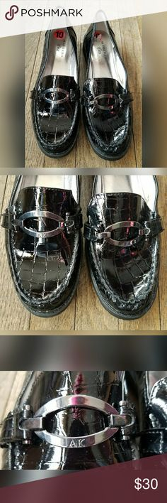 Anne Klein Black Leather Loafers Silver Size 10 Anne Klein black leather loafers.  Women's size 10. True to size.  In excellent condition. No flaws noted.  From a pet/smoke free home. Anne Klein Shoes Flats & Loafers