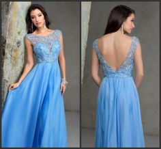 Light Blue Backless Prom Bateau Neck Capped Sleeve Iullsion Bodice Sexy Floor Length Cheap Price Long Party Gown Custom Wonderful Hot Sale Silk Prom Dresses Simple Prom Dresses 2015 From Lovemydress, $84.21| Dhgate.Com