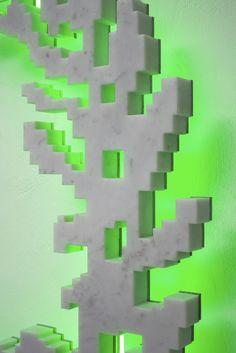 Neon-Classic (Mini Cooper Vintage) det., 2008 white marble, stainless steel, neon 85x85x10cm