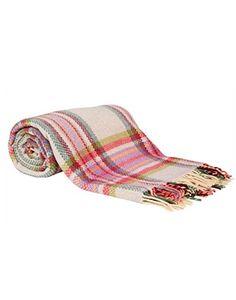 John Hanly Pink Tartan Merino Wool Throw