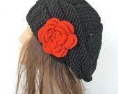 Women Hat -  Knit Hat - Winter Hat - Women Beret -  Black  Hat   -   Winter Accessories - women accessories Mother Day