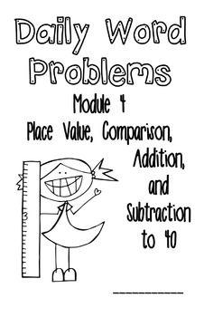 This FREE booklet contains all 28 application problems from Module 4 of A Story of Units (aka Engage NY, Eureka Math) for First Grade:Place Value, Comparison, Addition, and Subtraction to 40. It is in booklet form and has two problems per booklet half page.