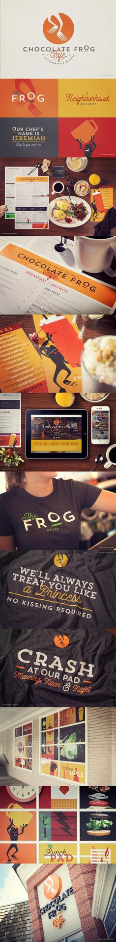 Branding, Menu, Signage, Web, Wearables and Website for the restaurant Chocolate Frog Cafe.