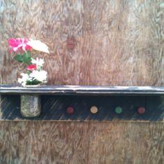 Vintage wood shelf. Wood knobs for hangers. Mason jar with rim.