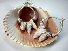 Shell+Earrings%2C+Hoop+Earrings%2C+Summer+Jewelry%2C+Silver+Wire+Wrapped%2C+Pearls+and+Shells