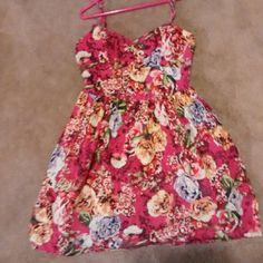 RESERVED for @holidaze Xhilaration tank top dress Pink floral tank to dress. Spaghetti straps. Good condition Xhilaration Dresses Mini