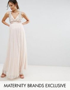 7cdd0d90181 Shop Little Mistress Maternity Plunge Front Embellished Maxi Dress at ASOS.  Charlayna Risko · Baby Shower
