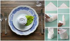 10 Ways to Fold Napkins – Craft Box Girls Napkin Folding Rose, Napkin Rose, Folding Napkins, Napkin Rings, 50th Birthday Decorations, Table Decorations, Wedding Decorations, Wedding Ideas, Dinner Napkins