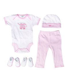 Another great find on #zulily! Baby Gear Pink Ballet Slippers Five-Piece Layette Set by  #zulilyfinds
