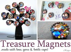 Make gorgeous Treasure Magnets with bottle caps and gems. A quick and easy craft and makes a beautiful gift for small and tall ladies! A re-cycle craft!