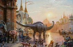 Cidade em Dinotopia Os Dinossauros e o Mundo Fantástico de James Gurney