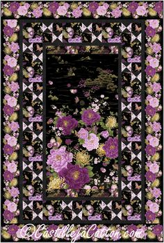 """Flower panel with pieced butterfly blocks and alternating floral blocks borders. Pieced lap/throw panel quilt pattern. Fabric shown in the sample quilt is Timeless Treasures Fabrics Majestic Chong-a Hwang. Finished Size: Lap/Throw 48"""" x 72"""" Skill Level: Advanced Beginner Technique: Pieced"""