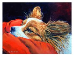 Papillon Dog Giclee Fine Art Print size 8x10 on Somerset Velvet Paper